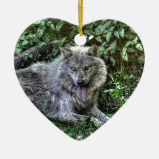 Resting Grey Wolf 3 Wildlife Gift Christmas Ornaments