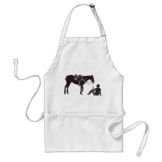 Resting Horse and Rider Plain Apron