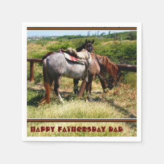 Resting Horses on Paper Napkins, Happy Fathersday Standard Cocktail Napkin