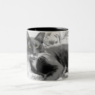 Resting Kitty BW Two-Tone Coffee Mug