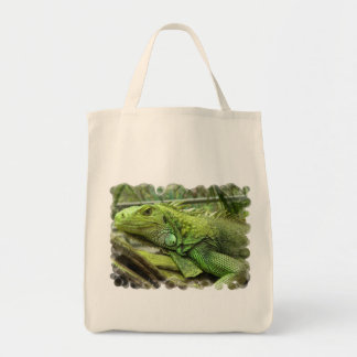 Resting Lizard Grocery Tote Canvas Bag