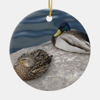 Resting Mallards Double-Sided Ceramic Round Christmas Ornament