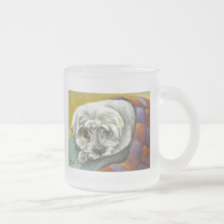 Resting Maltese Frosted Glass Coffee Mug