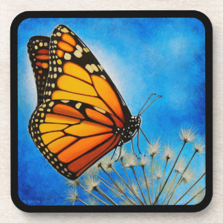 Resting Monarch Butterfly coaster set