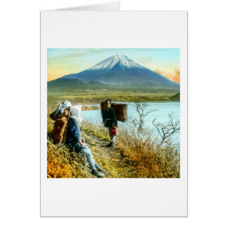 Resting on the Roadside to Mt. Fuji Vintage Card