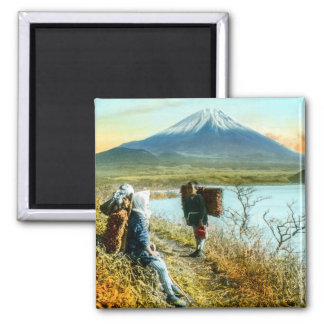 Resting on the Roadside to Mt. Fuji Vintage Magnet
