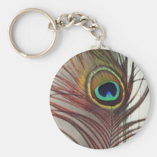 Resting Peacock Feather Keychain