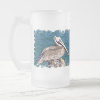 Resting Pelican Beer Stein 16 Oz Frosted Glass Beer Mug