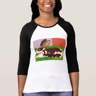Resting Rabbit Baseball Style Woman's T-shirt