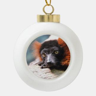 Resting Red Ruffed Lemur Ceramic Ball Christmas Ornament