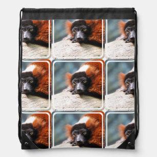 34c81694ea1a Resting Red Ruffed Lemur Drawstring Bag
