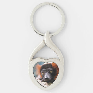 Resting Red Ruffed Lemur Silver-Colored Heart-Shaped Metal Keychain