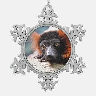 Resting Red Ruffed Lemur Snowflake Pewter Christmas Ornament