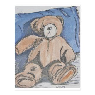 Resting teddy bear postcard