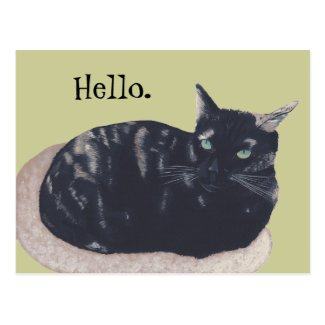 Resting Tortoise Shell Cat Painting Hello Postcard
