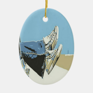 Resting while travelling design ceramic ornament