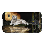 Resting White Tiger & Moon Big Cat Wildlife Galaxy S5 Cases