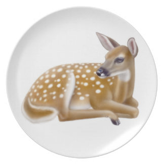 Resting Whitetail Deer Fawn Plate
