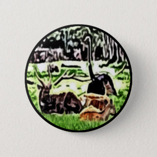 resting wild animals painting button