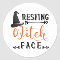 resting witch face classic round sticker