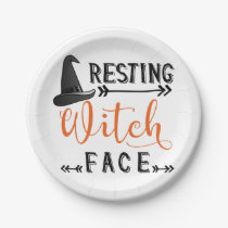 resting witch face paper plate