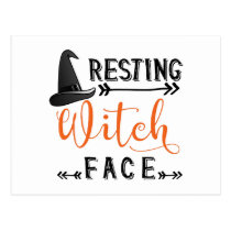 resting witch face postcard