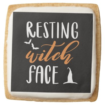 Halloween Themed RESTING WITCH FACE SQUARE SHORTBREAD COOKIE