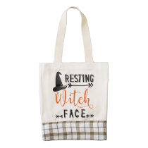 resting witch face zazzle HEART tote bag