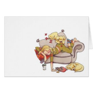resting women notecard card