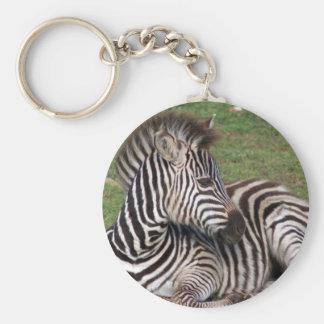 Resting Zebra Keychain