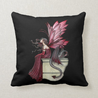 Restless Ruby Dragon and Faerie Throw Pillow