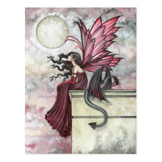 Restless Ruby Fairy and Dragon Postcard