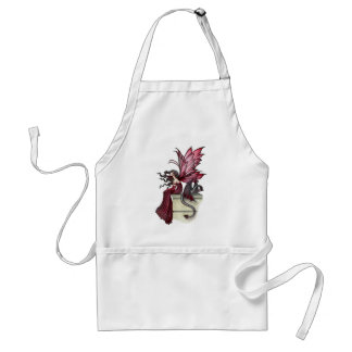 Restless Ruby Gothic Red Fairy and Dragon Adult Apron