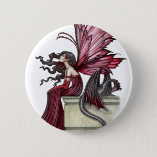 Restless Ruby Gothic Red Fairy and Dragon Pinback Button