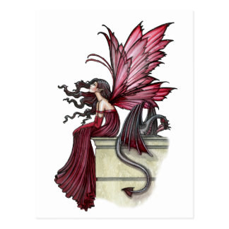 Restless Ruby Gothic Red Fairy and Dragon Postcards