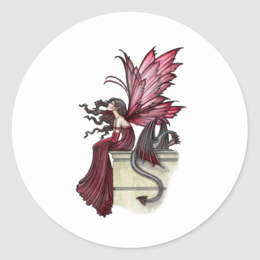 Restless Ruby Gothic Red Fairy and Dragon Round Stickers