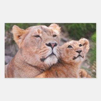 Resto de Cub de la leona y de león antes de la Rectangular Pegatina