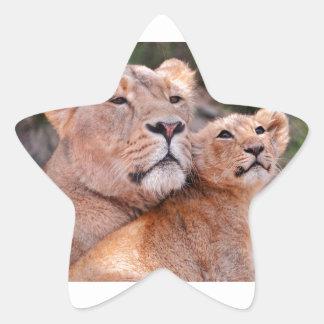 Resto de Cub de la leona y de león antes de la Calcomanias Forma De Estrella