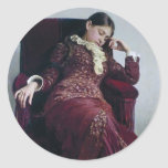 Resto de Ilya Repin-. Retrato de Vera Repina Pegatina Redonda