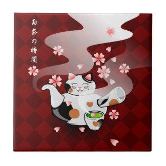 Resto de la tetera del gato de Maneki Neko Sakura Azulejo Cuadrado Pequeño