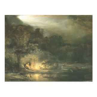 Resto de Rembrandt en el vuelo a Egipto Tarjetas Postales