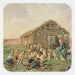 Resto durante hacer heno, 1861 pegatina cuadrada
