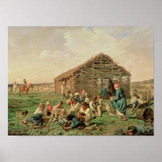 Resto durante hacer heno, 1861 póster