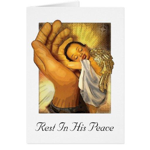 Resto en su paz tarjeta de felicitación