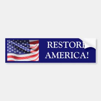 RESTORE AMERICA! Bumper Sticker Car Bumper Sticker