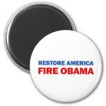 Restore America Fire Obama 2 Inch Round Magnet