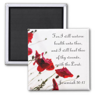 Restore Health and Heal Thee of Thy Wounds 2 Inch Square Magnet