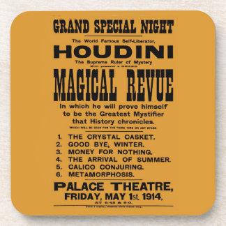 Restored 1914 Harry Houdini yellow billboard Beverage Coaster