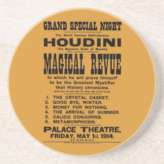 Restored 1914 Harry Houdini yellow billboard Drink Coasters
