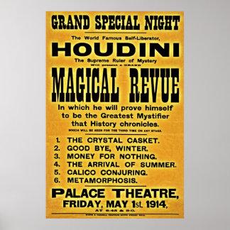 Restored 1914 Harry Houdini yellow billboard Poster